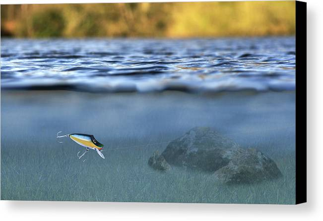 Lure In Use Canvas Print featuring the photograph Fishing Lure In Use by Meirion Matthias