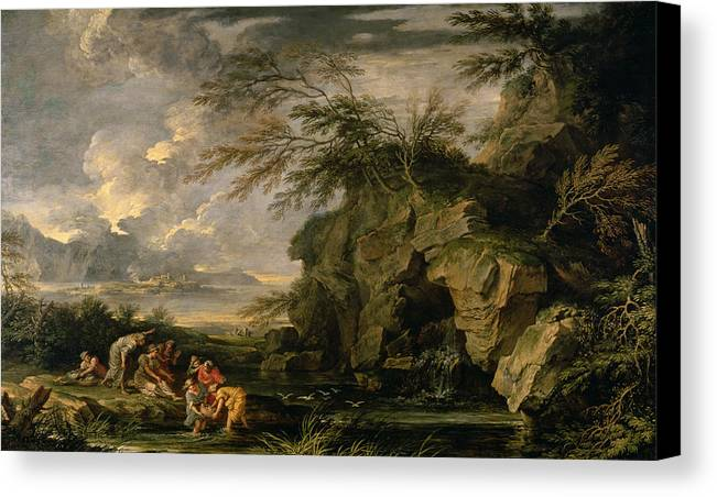 The Canvas Print featuring the painting The Finding Of Moses by Salvator Rosa