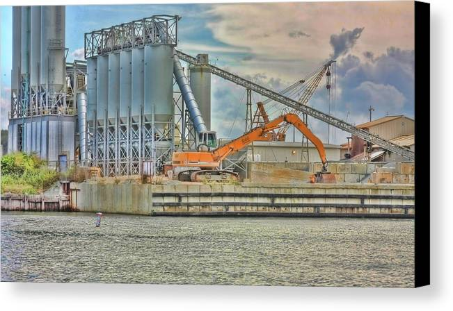 Backhoe Canvas Print featuring the photograph Working By The Bay by Elizabeth Spencer