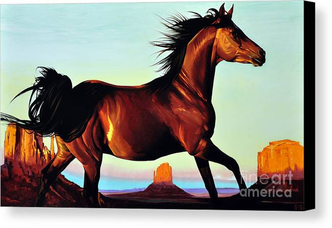 Monument Valley Canvas Print featuring the painting Freedom by Michael Stoyanov