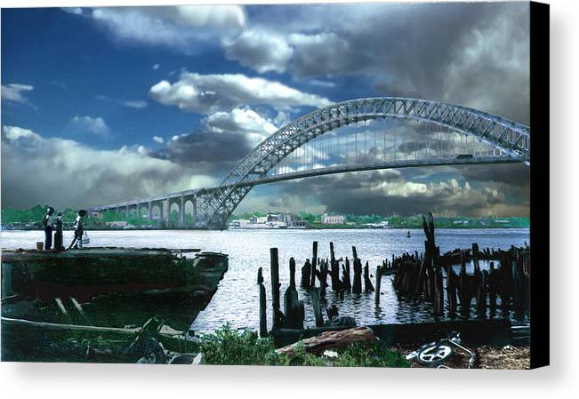 Seascape Canvas Print featuring the photograph Bayonne Bridge by Steve Karol