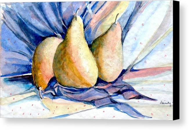 Pears Canvas Print featuring the painting Blue Pears by Mindy Newman