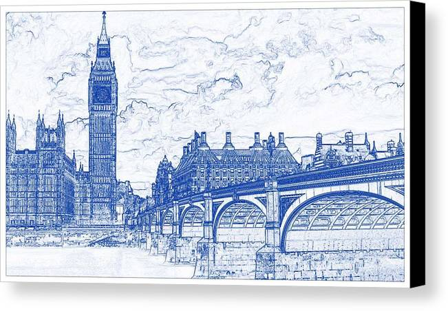 Blueprint drawing of london canvas print canvas art by celestial drawing canvas print featuring the painting blueprint drawing of london by celestial images malvernweather Images