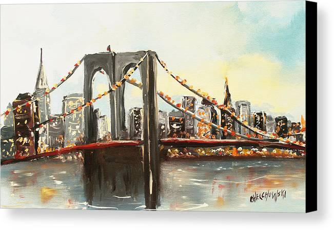Brooklyn Bridge New York City Canvas Print featuring the painting Brooklyn Bridge by Miroslaw Chelchowski