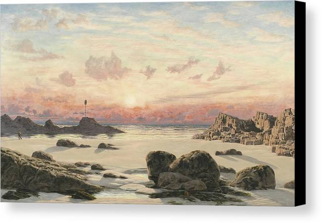 Bude Canvas Print featuring the painting Bude Sands At Sunset by John Brett