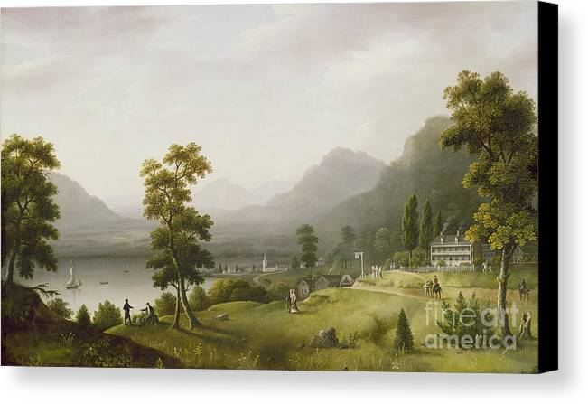 Carter Canvas Print featuring the painting Carter's Tavern At The Head Of Lake George by Francis Guy