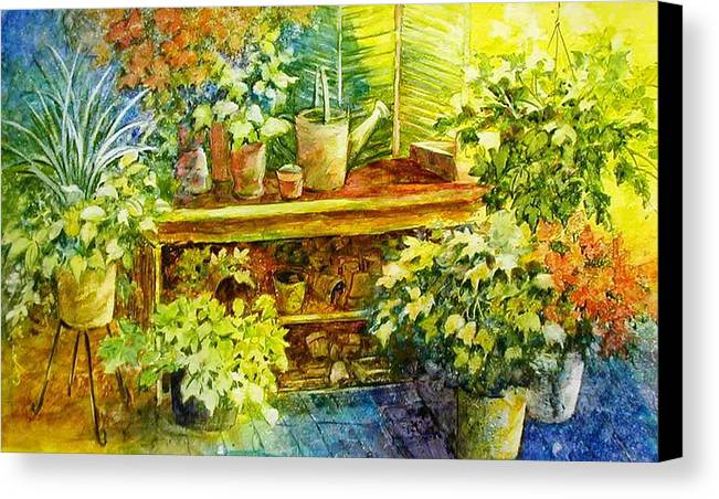 Greenhouse;plants;flowers;gardener;workbench;sprinkling Can;contemporary Canvas Print featuring the painting Gardener's Joy by Lois Mountz
