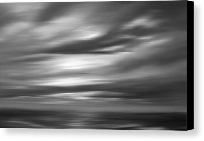 Abstract Seascape Canvas Print featuring the painting Gulf Sunset In Black And White by Leonard Frederick