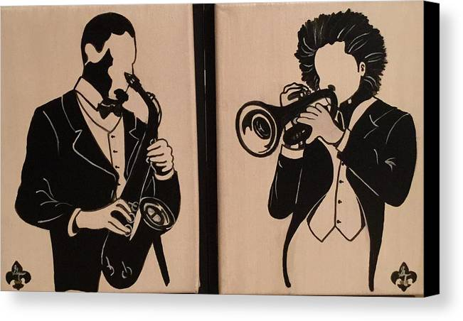 Musical Canvas Print featuring the painting Jazz Jammin Brothers by Gilda Thomas
