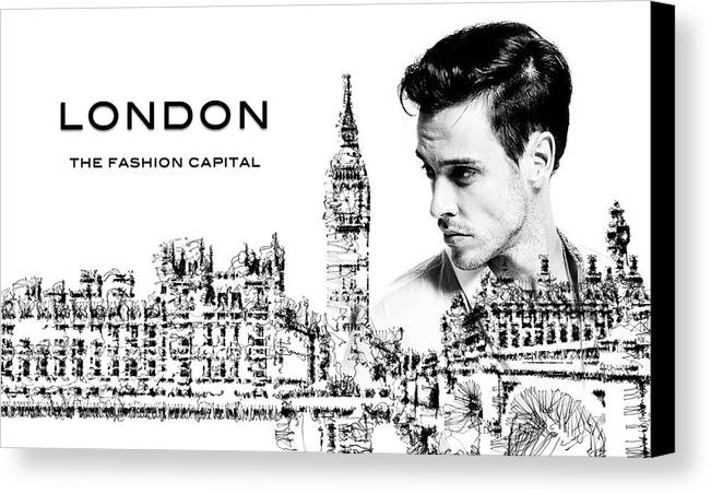 London Canvas Print featuring the mixed media London The Fashion Capital by ISAW Gallery