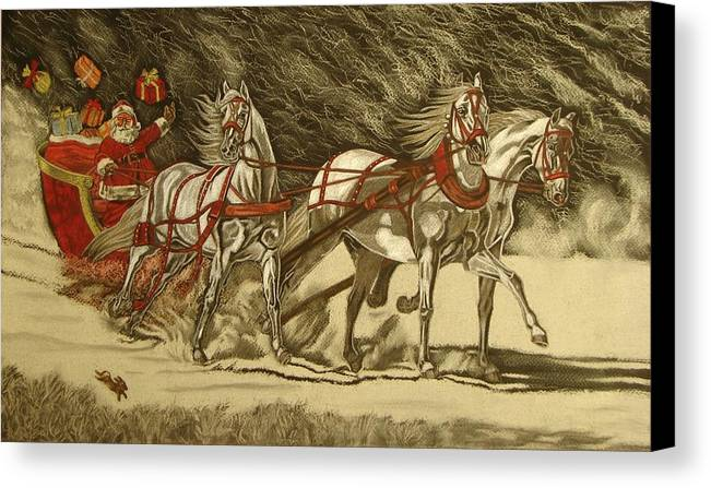Horse Canvas Print featuring the drawing Magical Christmas by Melita Safran