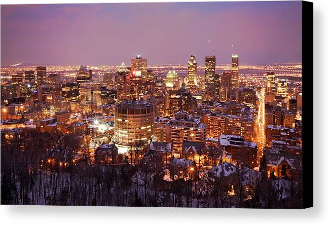 Montreal Canvas Print featuring the photograph Montreal City Lights by Pierre Leclerc Photography