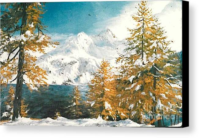 Winter Canvas Print featuring the painting On The Lake by Sorin Apostolescu
