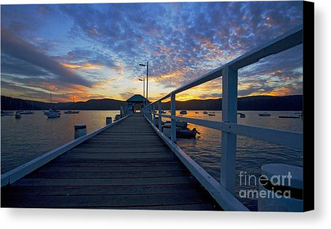 Palm Beach Sydney Wharf Sunset Dusk Water Pittwater Canvas Print featuring the photograph Palm Beach Wharf At Dusk by Sheila Smart Fine Art Photography