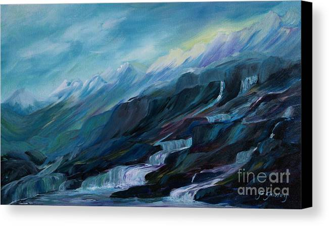 Spring Water Trickling Down Mountains Canvas Print featuring the painting Spring Water by Joanne Smoley