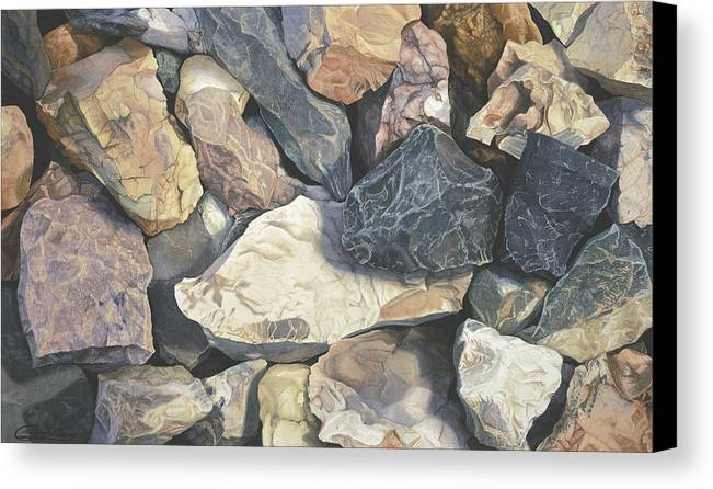 Stones Canvas Print featuring the painting Square One by Craig Gallaway