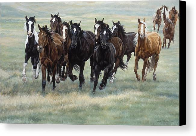 Michelle Grant Canvas Print featuring the painting Stampede by JQ Licensing