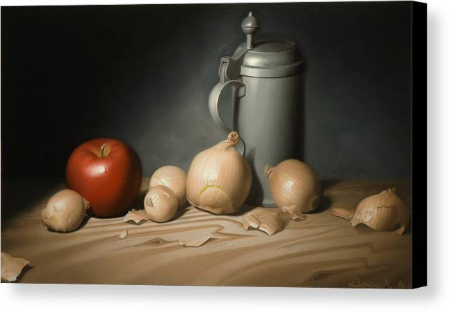 Still Life Painting Canvas Print featuring the painting Still Life Painting With Onions by Eric Bossik