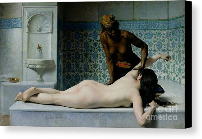 The Canvas Print featuring the painting The Massage by Edouard Debat-Ponsan