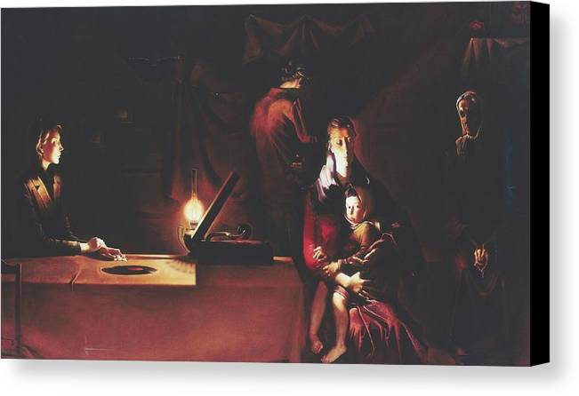 Figures Canvas Print featuring the painting Widows by Andrej Vystropov