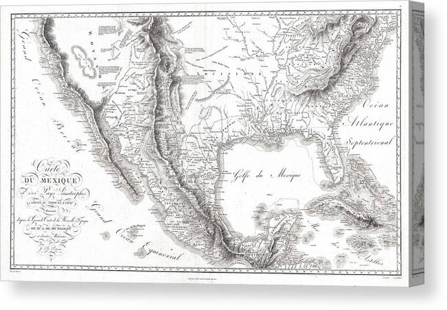 1811 Humboldt Map Of Mexico Canvas Print featuring the photograph 1811 Humboldt Map Of Mexico Texas Louisiana And Florida by Paul Fearn