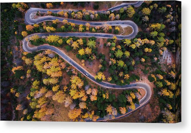 Landscape Canvas Print featuring the photograph Aerial View Of Vrsic Mountain Pass by Ales Krivec