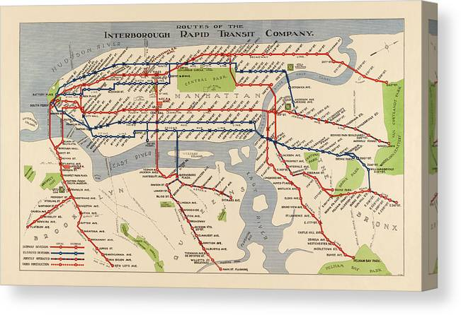 Nyc Subway Map Central Park.Antique Subway Map Of New York City 1924 Canvas Print