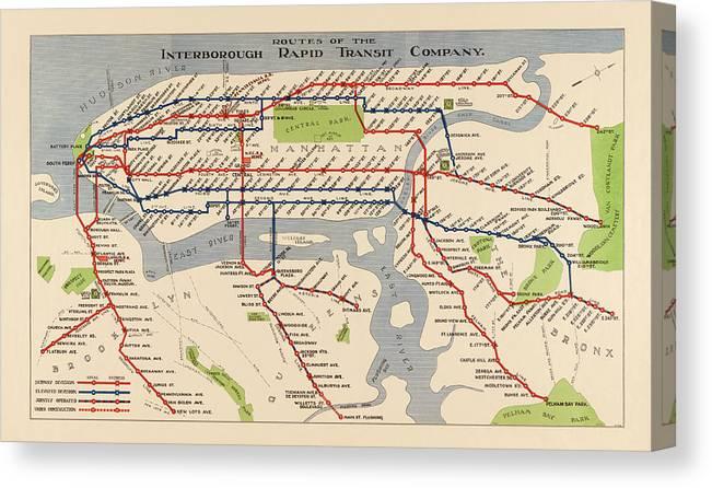 Nyc Subway Map Print.Antique Subway Map Of New York City 1924 Canvas Print