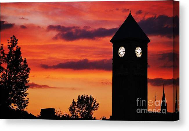 Sunset Art Clock Tower Urban Mount Royal Station Skyline Silhouette Nature Baltimore Landmark Trees Spire Historic Building Sky And Clouds Art Greeting Cards Invitation Cards Metal Frame Canvas Print Poster Print Wooden Frame Available On Phone Cases Pouches Tote Bags Throw Pillows Shower Curtains Weekender Tote Bags Mugs And T Shirts Canvas Print featuring the photograph 8.15 On The Mount Royal Clock Tower Baltimore by Marcus Dagan