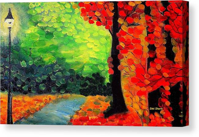 Landscape Canvas Print featuring the painting The Road To The Woods 2 by Simi Sherin