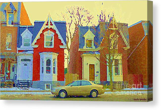 Pointe St Charles Canvas Print featuring the painting Town Houses In Winter Suburban Side Street South West Montreal City Scene Pointe St Charles Cspandau by Carole Spandau