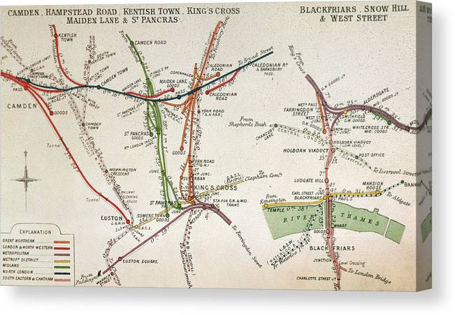 Tube Canvas Print featuring the drawing Transport Map Of London by English School