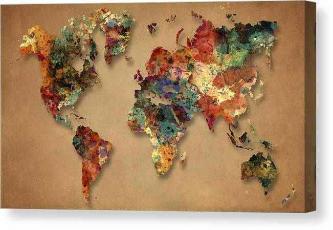 World Map Canvas Print featuring the painting World Map Watercolor Painting 1 by Georgeta Blanaru