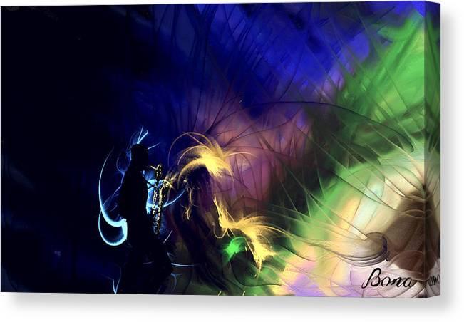 Saxophone Canvas Print featuring the painting Baritonality by TaO Bona