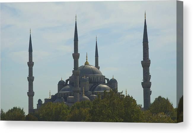 Blue Mosque Canvas Print featuring the photograph Minarets by Cheri Randolph