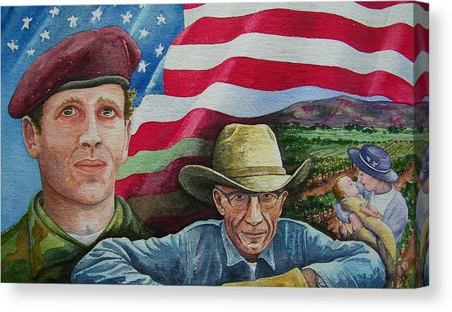 Soldier Canvas Print featuring the painting We Hold These Truths by Gale Cochran-Smith
