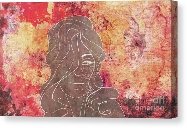 Abstract Canvas Print featuring the mixed media Mind Control - Abstract Horizontal Red Orange Yellow Mood Concrete Chalk Drawing Wall Art by A K Art