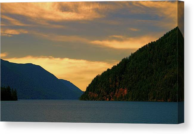 Evening Light At Lake Crescent Canvas Print featuring the photograph Evening Light At Lake Crescent by Dan Sproul