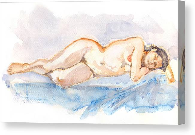 Woman Canvas Print featuring the painting Female Nude 04 by Nelson Caramico