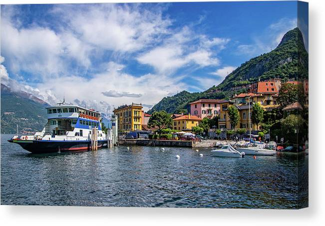 Ferry Dock In Varenna Canvas Print featuring the photograph Ferry Dock In Varenna by Carolyn Derstine