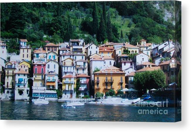 Photo Canvas Print featuring the painting Homes Uphill In Italy by Marsha Heiken