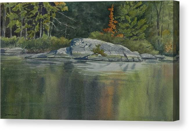 Water Canvas Print featuring the painting Lone Red Tree by Debbie Homewood