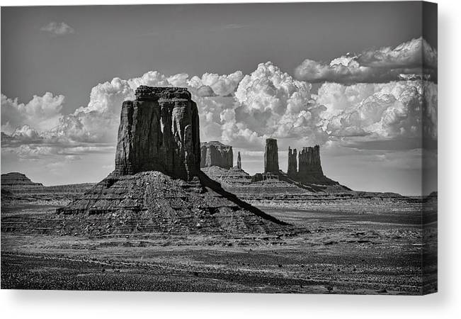 Monument Valley Canvas Print featuring the photograph Monument Valley In Black And White by Saija Lehtonen