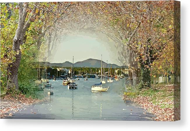 Moored Canvas Print featuring the mixed media Moored Yachts In A Sheltered Bay by Clive Littin