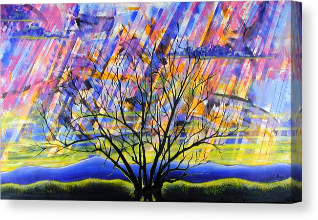 Sunset Canvas Print featuring the painting Rays Of Life by Rollin Kocsis