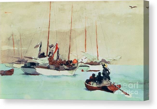 Boat Canvas Print featuring the painting Schooners At Anchor In Key West by Winslow Homer