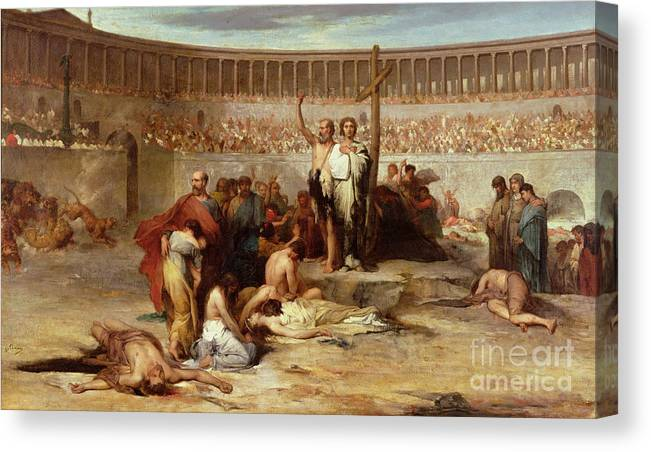 Coliseum; Colosseum; Audience; Spectators; Martyrdom; Execution; Public; Christianity; Persecution; Cross; Christians; Slaughter; Thrown To The Lions; Lion; Roman; Followers Of Christ; New Religion; Martyr; Ancient Rome Canvas Print featuring the painting Triumph Of Faith  Christian Martyrs In The Time Of Nero by Eugene Romain Thirion