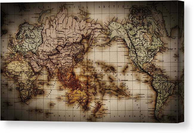 Close Up Of Antique World Map Canvas Print Canvas Art By Tetra Images