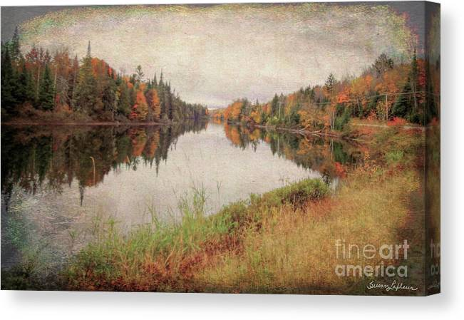 Aged Canvas Print featuring the mixed media Androscoggin River, 13 Mile Woods Antiqued by Susan Lafleur