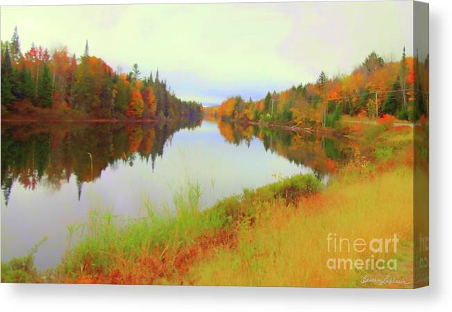 Nh Canvas Print featuring the mixed media Androscoggin River, 13 Mile Woods by Susan Lafleur